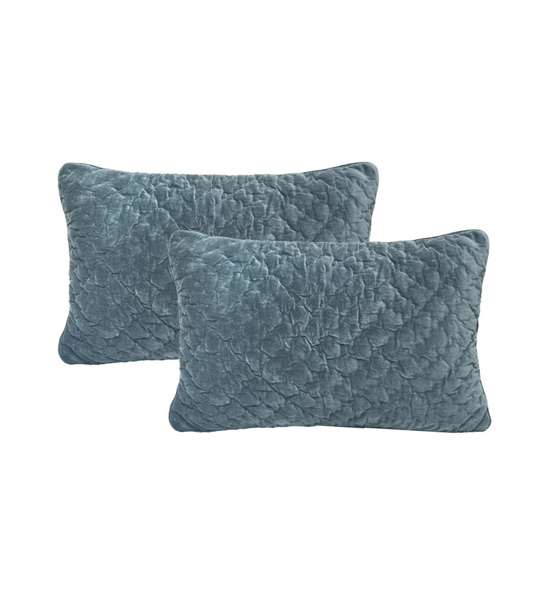 Blue Velvet 16 x 23 Inch Cushion Covers - Set of 2 by R Home
