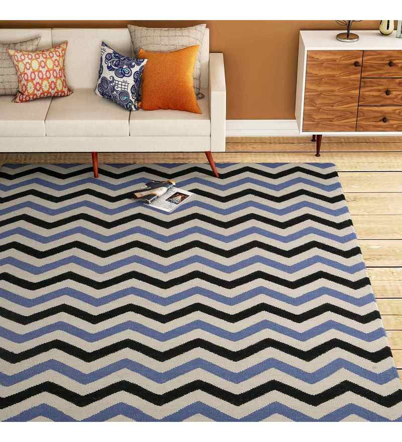 Blue Wool 72 x 48 Inch Carpet by Imperial Knots
