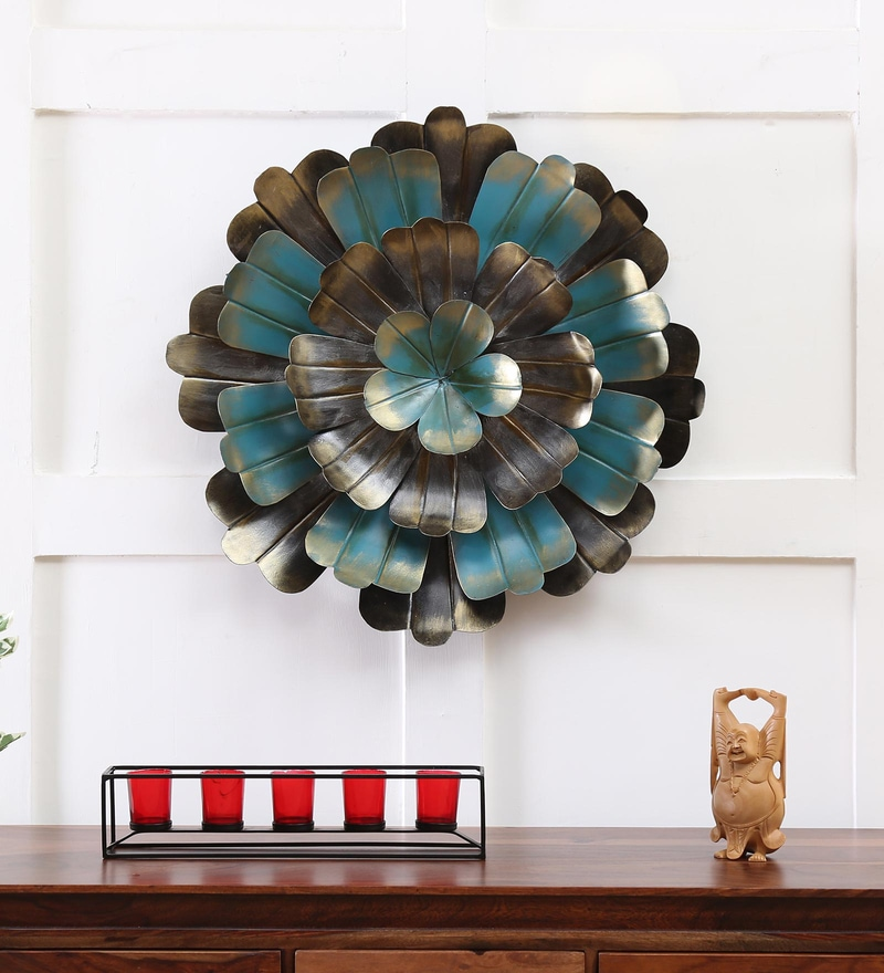 Buy Turquoise Iron Orchid Big Flower Wall Decor By Vedas Online