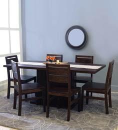 Bocado-Sorano Six Seater Dining Set In Mahogany Finish
