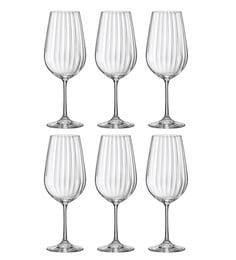Bohemia Crystal Waterfall 350 Ml Wine Glasses - Set Of 6