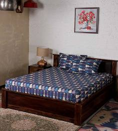 Bombay Dyeing Blue Cotton Abstract Double Bed Sheet (with Pillow Cover) - Set Of 3
