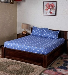 Bombay Dyeing Blue Cotton Floral Double Bed Sheet (with Pillow Cover) - Set Of 3