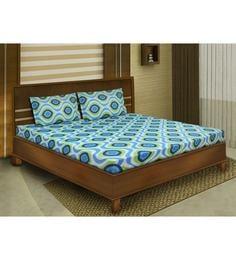 Blue Cotton Queen Size Bedsheet - Set of 3