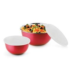 Bonita Red Stainless Steel And Plastic Round Airtight Storage Set