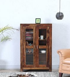 Oriel Two Door Book Case In Provincial Teak Finish By Woodsworth