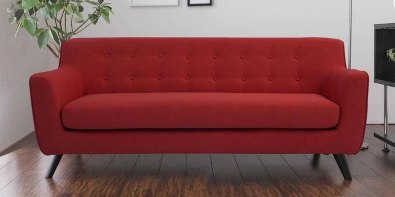 Bogota Three Seater Sofa in Red Colour by CasaCraft