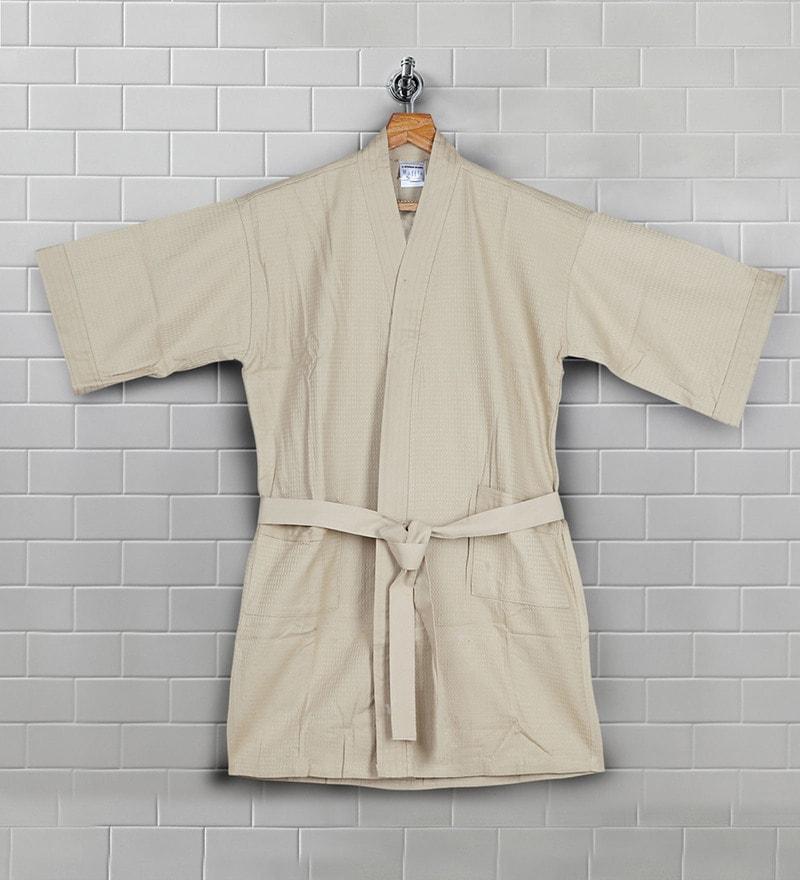 Beige Cotton 33 X 9 Inch Bath Robe by Bombay Dyeing