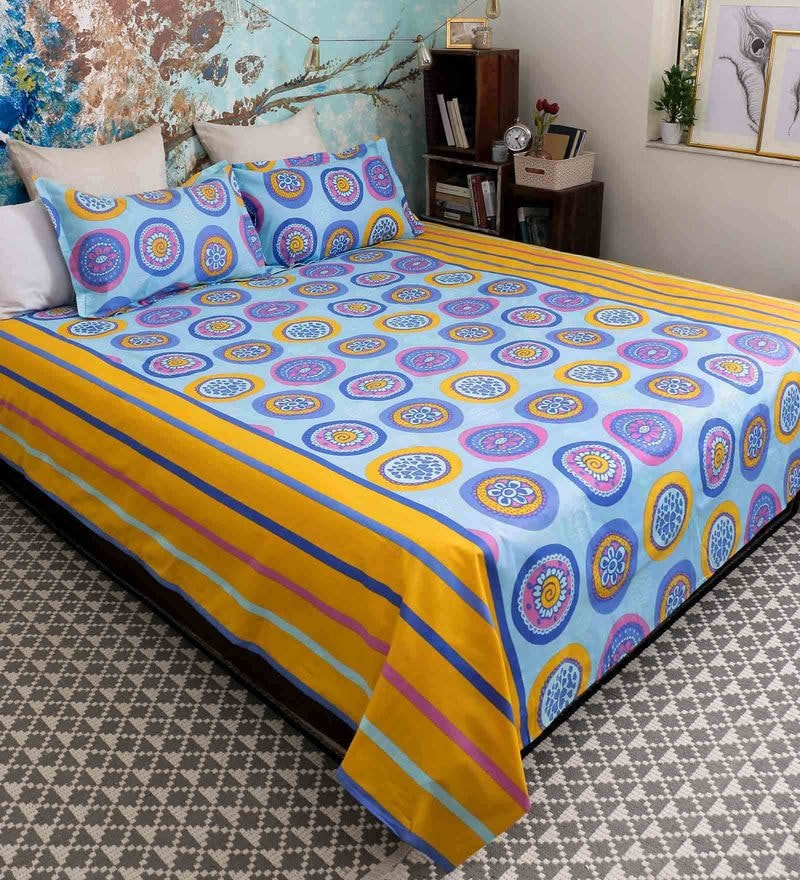 Blue 100% Cotton Queen Size Cardinal Bed Sheet - Set of 3 by Bombay Dyeing