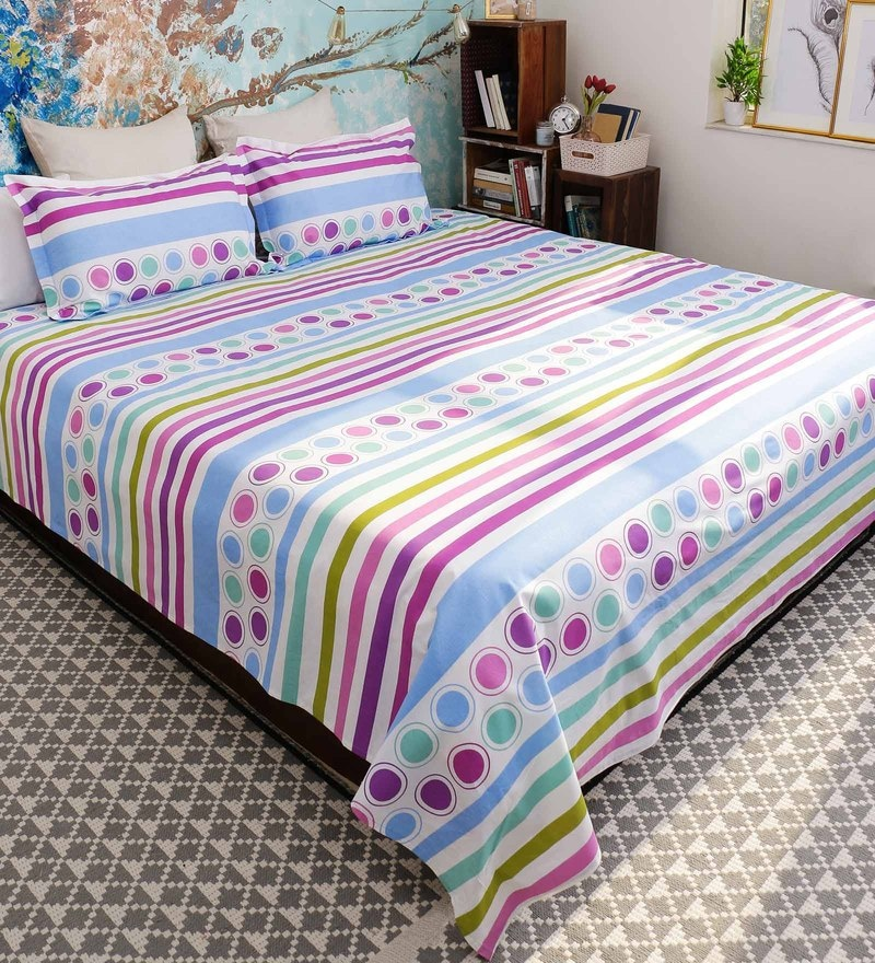 Blue 100% Cotton Queen Size Florentine Bed Sheet - Set of 3 by Bombay Dyeing