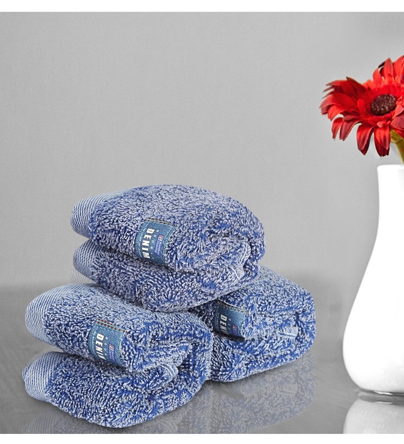 Blue Cotton 12 X 12 Inch Towels - Set of 3 by Bombay Dyeing