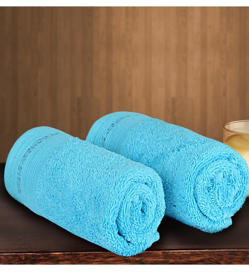 Blue Cotton 24 X 16 Inch Hand Towel - Set of 2 by Bombay Dyeing