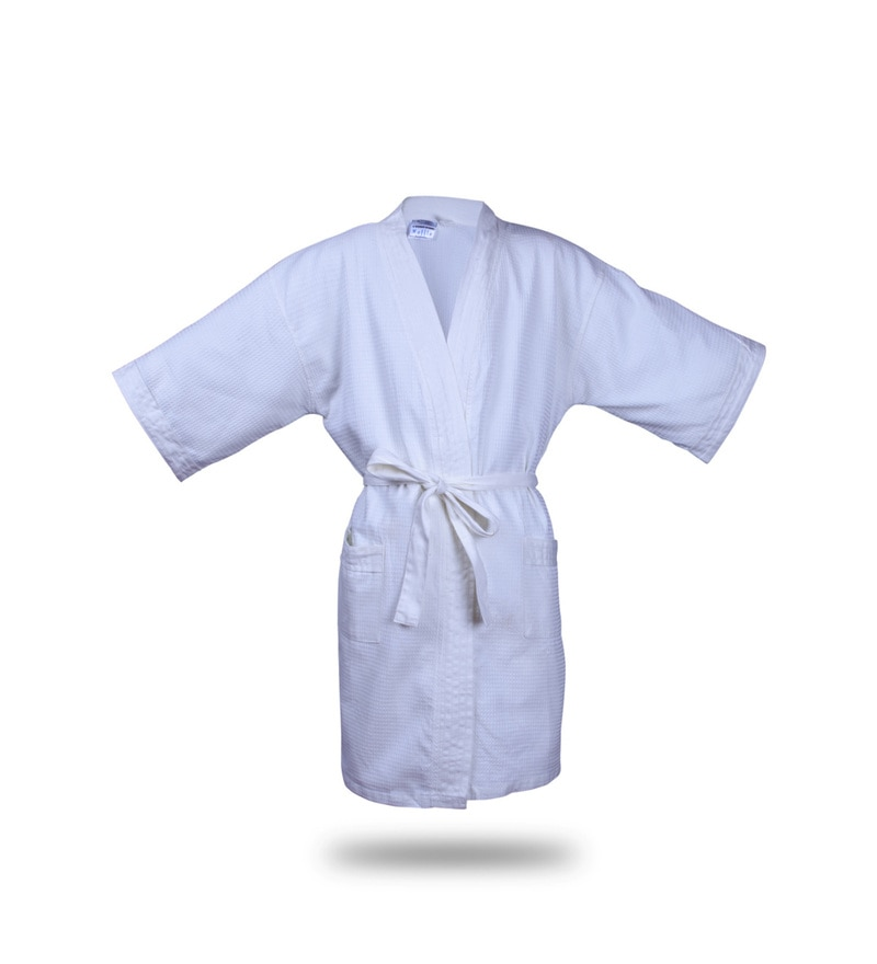 Blue Cotton 51 X 19 Inch Waffle Small Size Bathrobe by Bombay Dyeing