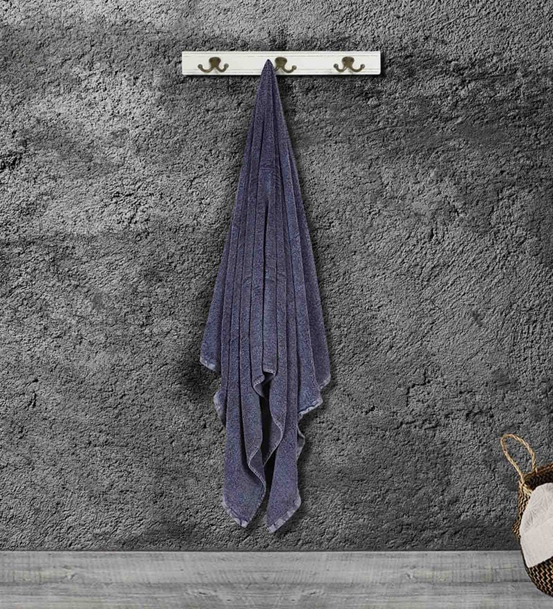 Blue Cotton 59 X 30 Inch Bath Towel by Bombay Dyeing