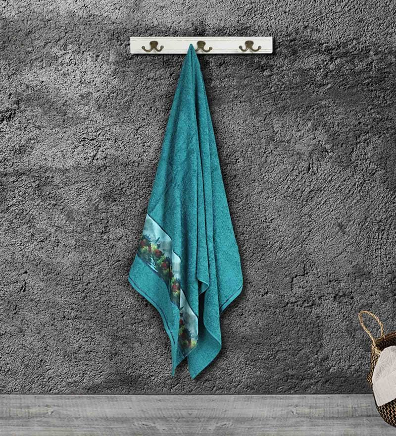 Blue Cotton 59 X 30 Inch Bath Towel by Bombay Dyeing