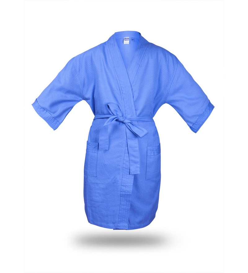 Bombay Dyeing Blue Cotton Waffle Large Size Bathrobe