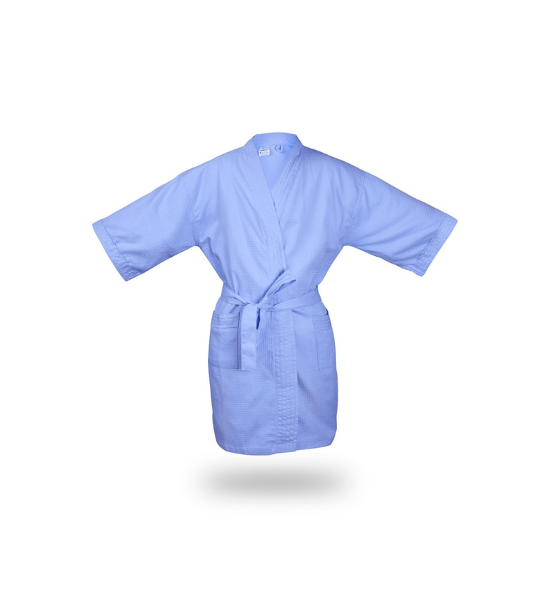 Blue Cotton Waffle Xl Size Bathrobe by Bombay Dyeing