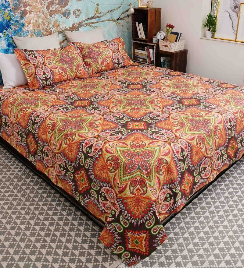 Brown 100% Cotton Queen Size Garnet Bed Sheet - Set of 3 by Bombay Dyeing