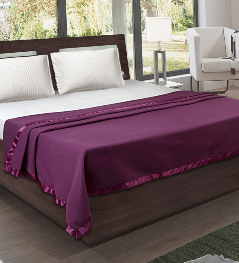 Purple Fleece 87 x 94 Inch Double Size All Season Blanket by Bombay Dyeing