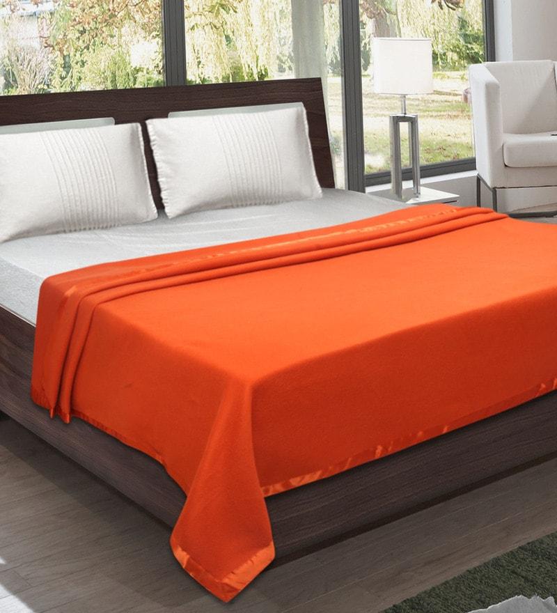 Orange Fleece 87 x 94 Inch Double Size All Season Blanket by Bombay Dyeing