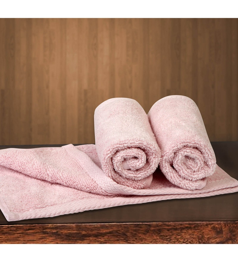 Pink Cotton 12 X 12 Inch Towels - Set of 3 by Bombay Dyeing