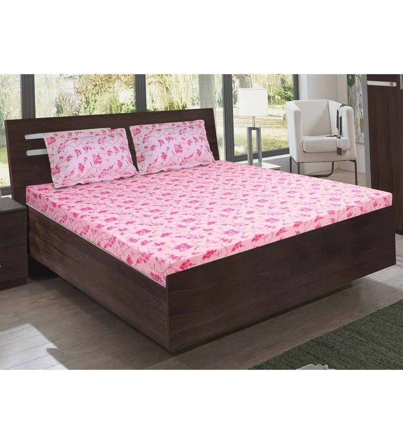 Pink Cotton King Size Bedsheet - Set of 3 by Bombay Dyeing
