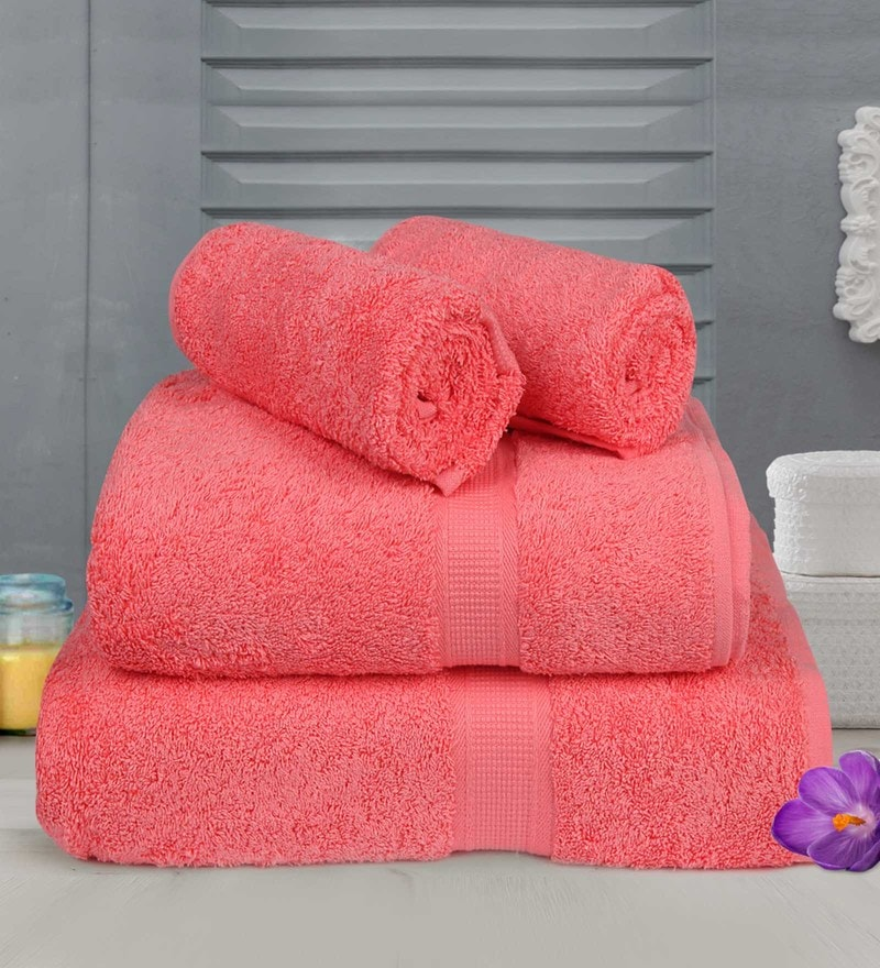 Pink Cotton Towels - Set of 4 by Bombay Dyeing