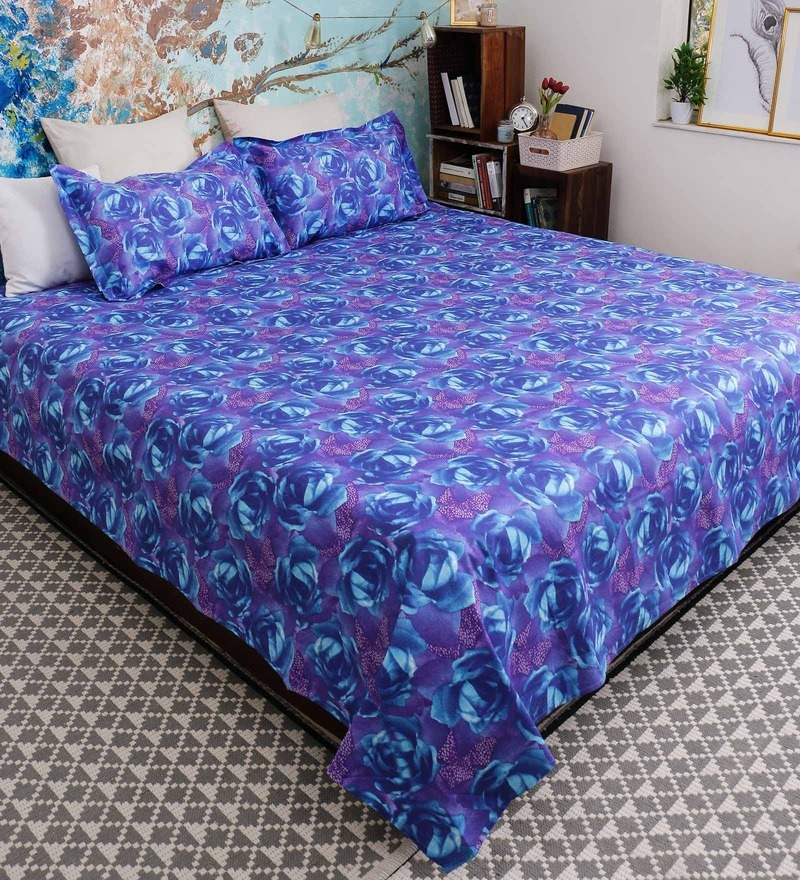 Purple 100% Cotton Queen Size Garnet Bed Sheet - Set of 3 by Bombay Dyeing