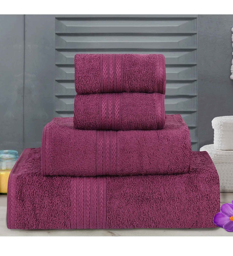 Purple Cotton Tulip Towels - Set of 4 by Bombay Dyeing