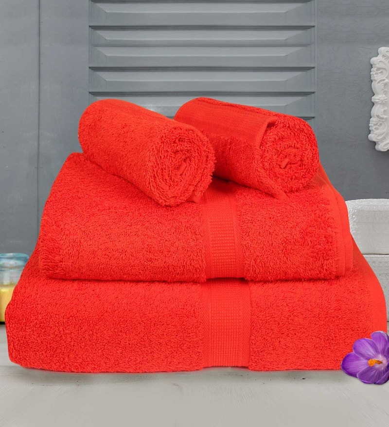 Red Cotton Towels - Set of 4 by Bombay Dyeing