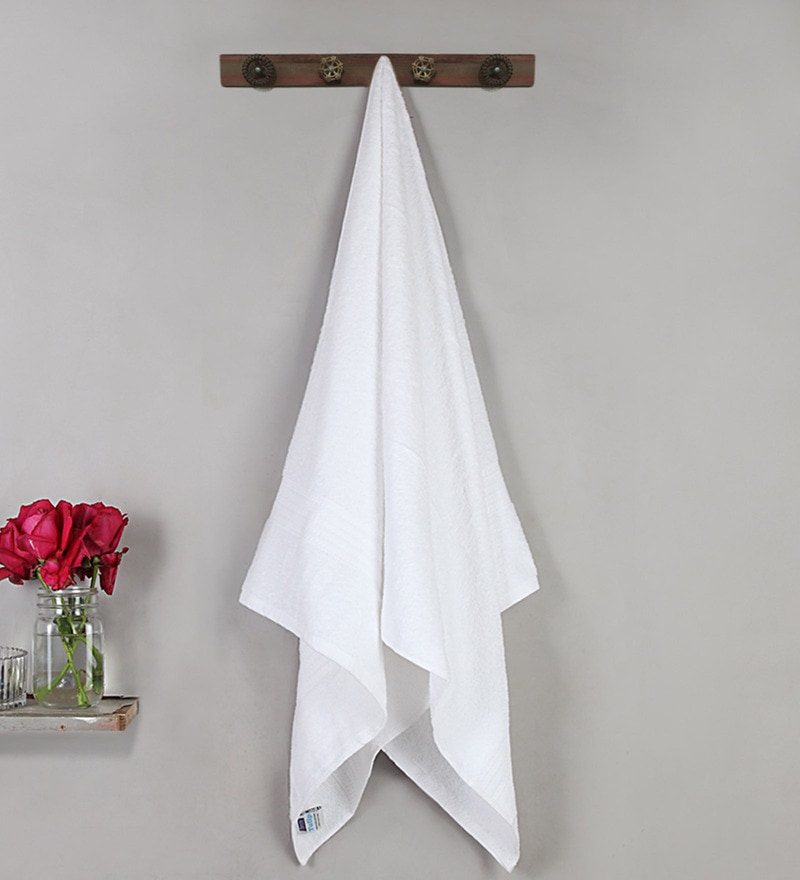 White Cotton 59 X 30 Inch Bath Towel by Bombay Dyeing