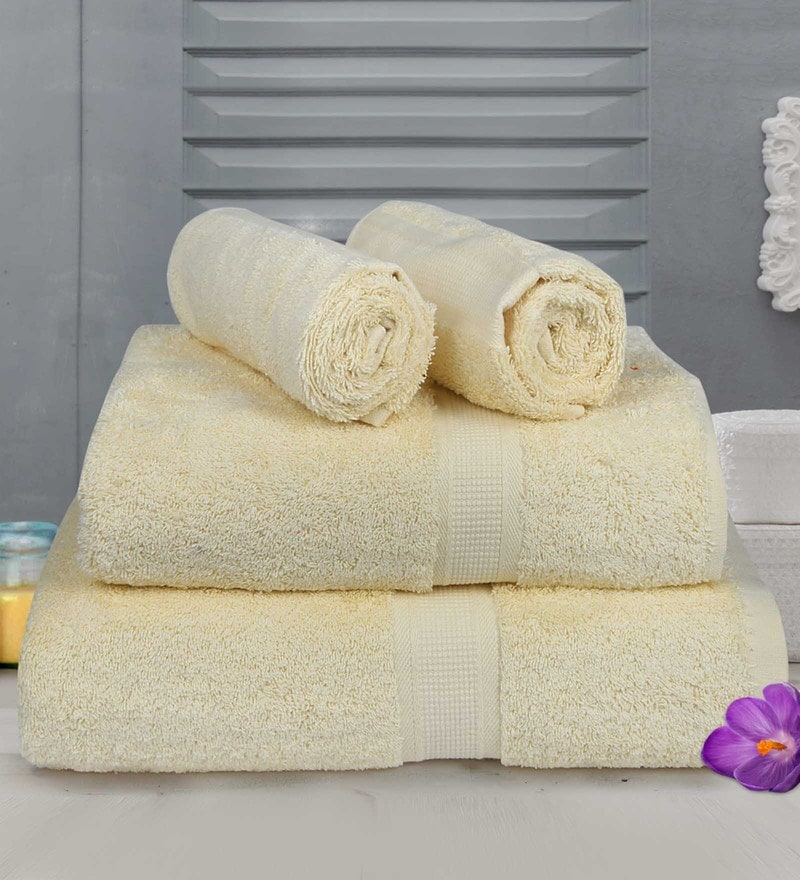 Bombay Dyeing Yellow Cotton Towels - Set of 4
