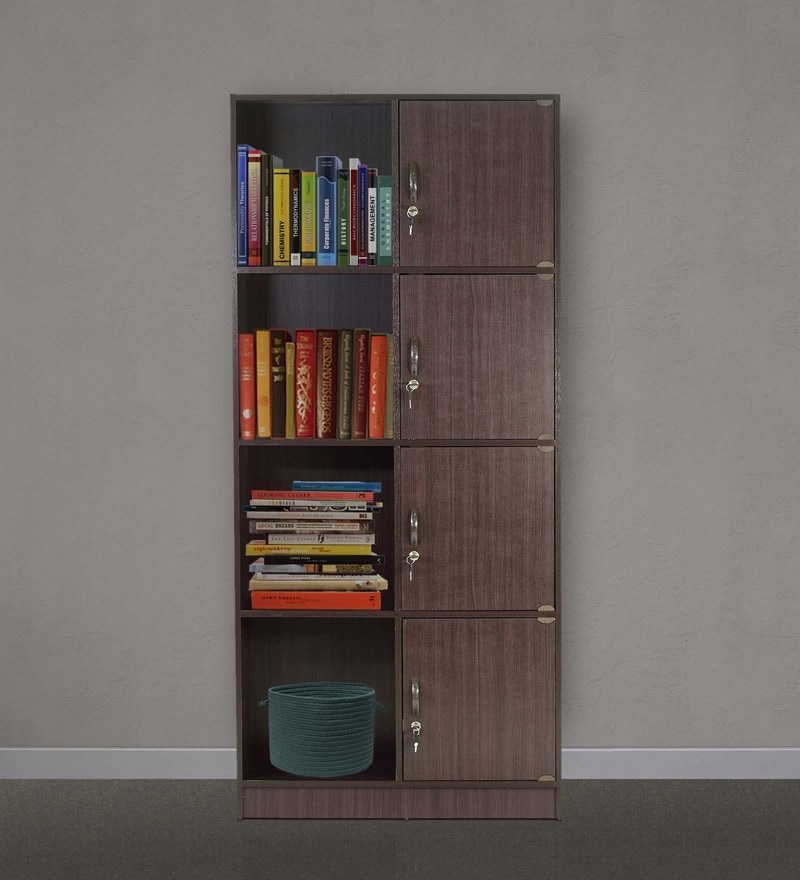 Book Shelf with Four Cabinets & Four Shelves in Wenge Finish by Marco