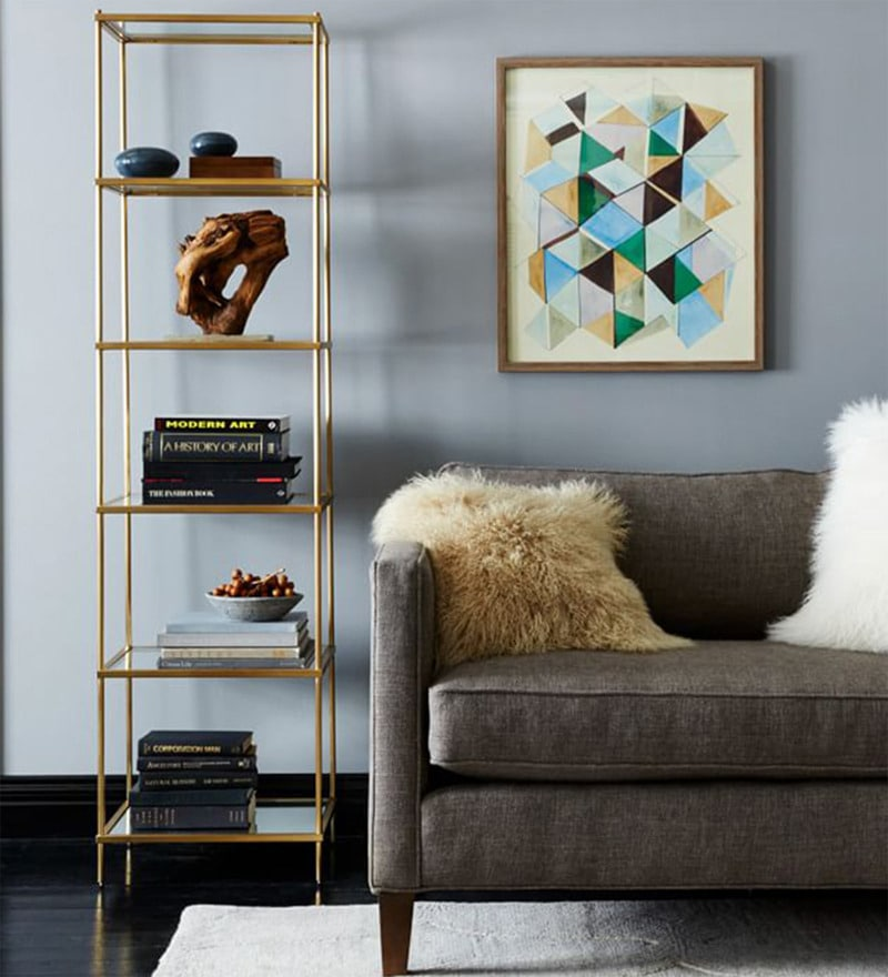 Display Unit cum Book Shelf in Mod-Gold color by Asian Arts