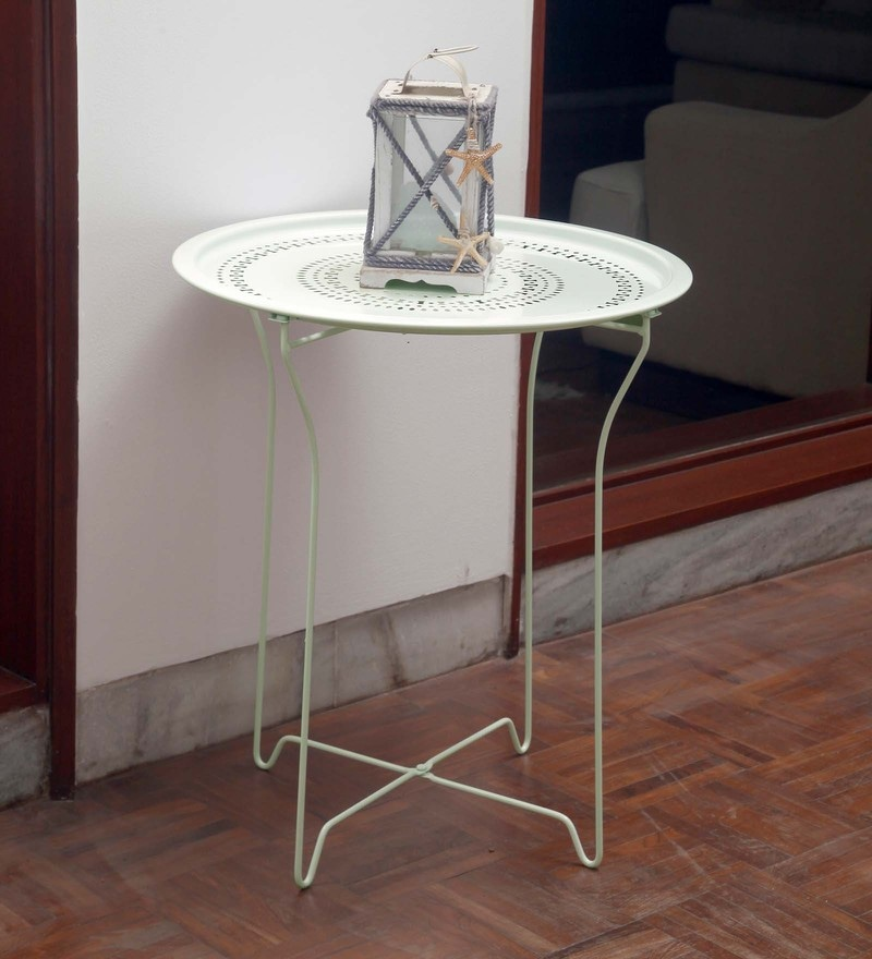 Bordeaux Steel Folding Coffee Table in White by Hauser