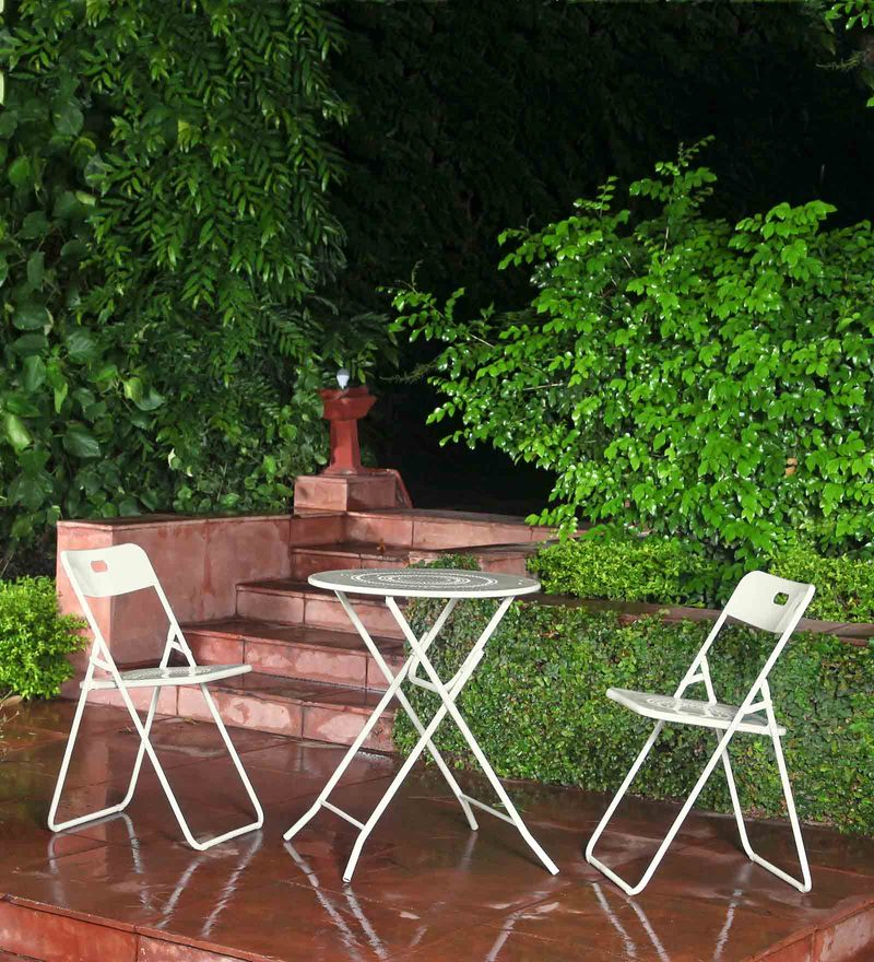 Bordeaux Steel Round Balcony Set (1T + 2C) in White by Hauser