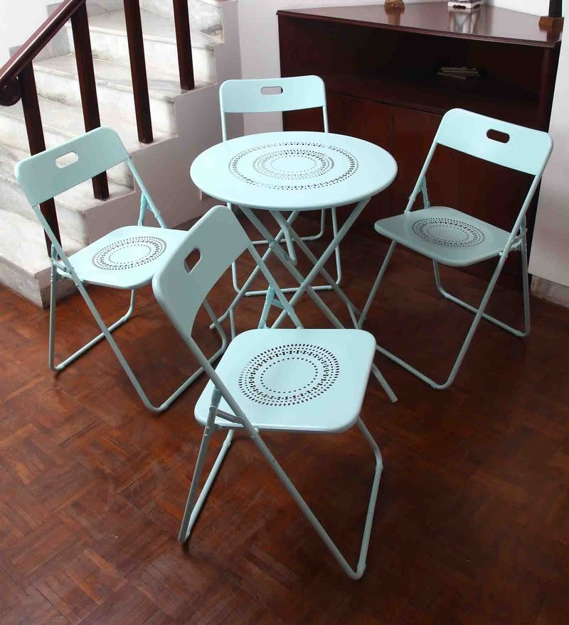 Bordeaux Steel Round Dining Set (1T + 4C) in Mint by Hauser