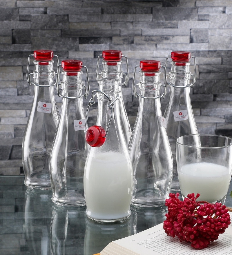Borgonovo Indro Glass 355 ML Bottle With Red Lid - Set Of 2