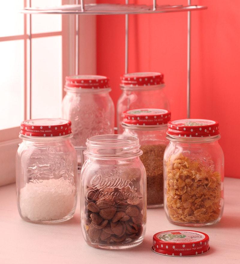 Bormioli Rocco Food Lovers Quattro Red Cylindrical 500 ML Jar - Set of 6
