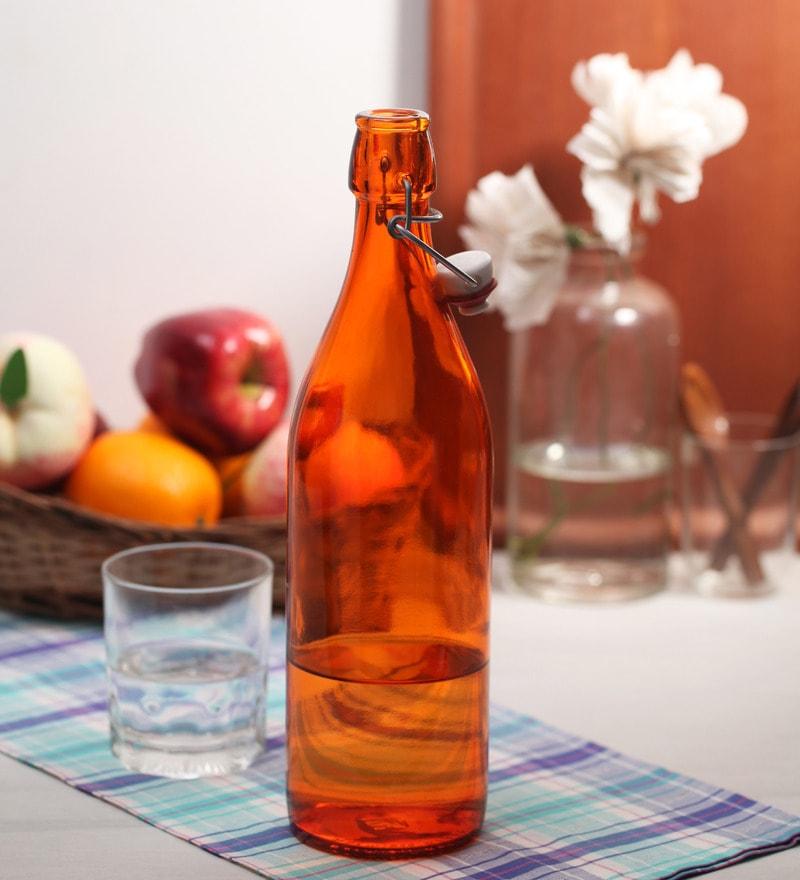 Bormioli Rocco Giara Arancio Orange Glass 1 L Bottle - Set of 2