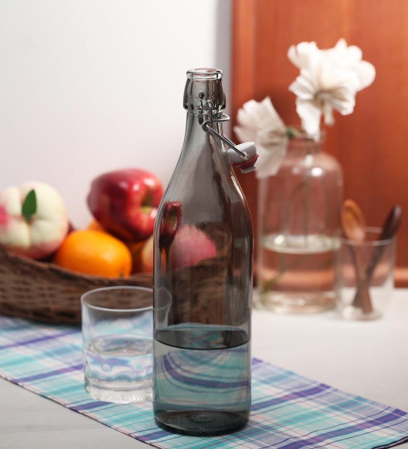 Bormioli Rocco Giara Grigio Grey Glass 1 L Bottle - Set of 2