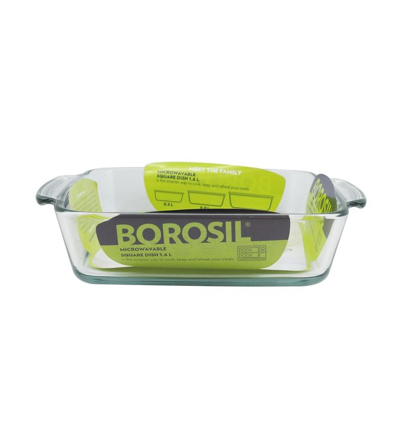 Borosil Borosilicate Glass 1.6L Square Dish with Handle