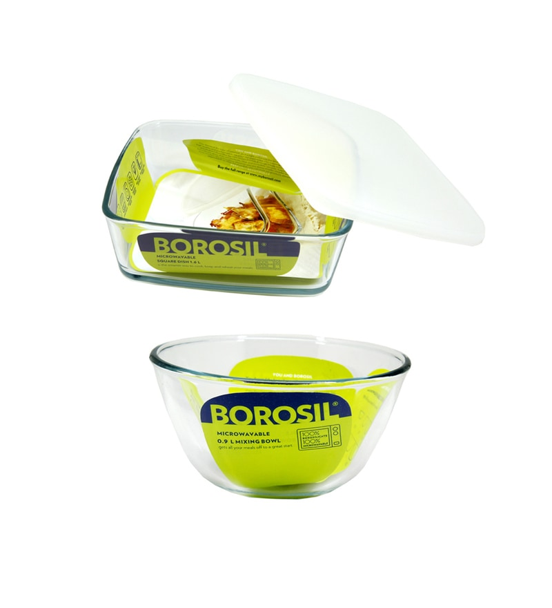 Borosil Borosilicate Glass Bowls - Set of 2 (Model: Fcmlgh-1600-900)