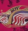 Magenta & Gold Matt Satin 12 x 36 Inch Stylised Fish Print & Embroidery Cushion Cover by Bombay Mill