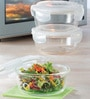 Borosil Transparent Borosilicate Glass 400 ML Lunch Box - Set of 3