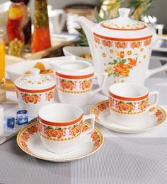 Bp Bharat Bone China Tea Cups & Saucers with Pot - Set of 15 ...