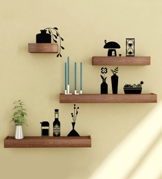 Brown & Black Engineered Wood Shelves With Wall Stickers - Set Of 4 By Home Sparkle