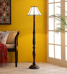 Brown & Off White Cotton Floor Lamp - 1680037