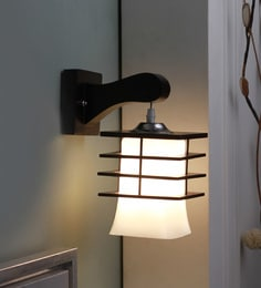 Brown And White Glass And Wood Wall Mounted Light - 1637577
