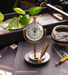 Brown Brass Table Clock With Pen Holder And Compass